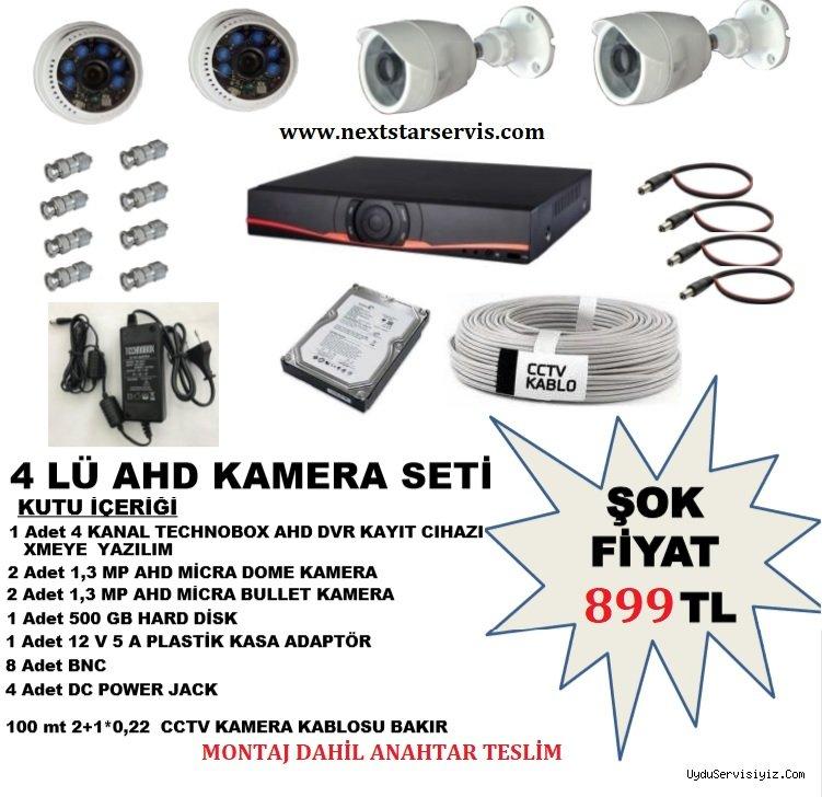 4 Adet AHD Güvenlik Kamera Seti Montaj Dahil