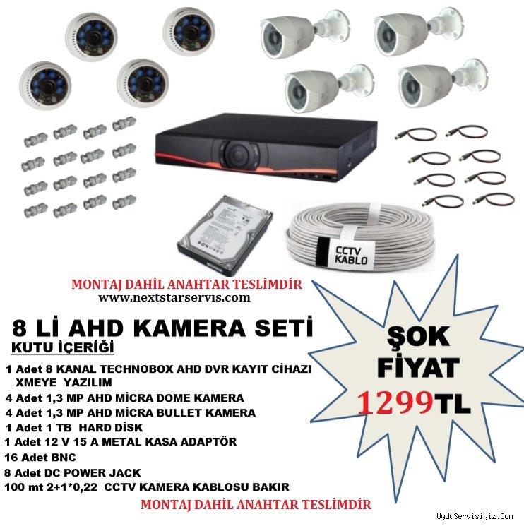 8 Adet AHD Güvenlik Kamera Seti Montaj Dahil